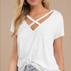 Never Worn TOBI Criss Cross White T-Shirt